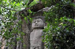 Carved Stone Buddha in Dowa Temple, Sri Lanka Stock Photos