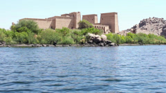 Philae Temple from Nile, Egypt Stock Footage