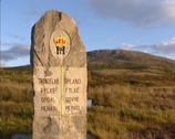 Stock Video Footage of Norwegian county border marking graved in natural stone