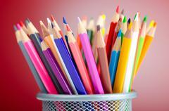 Colour pencils in creativity concept Stock Photos