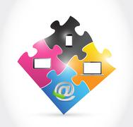 technology electronics and puzzle pieces - stock illustration