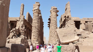 Stock Video Footage of Karnak Temple Tourists, Egypt