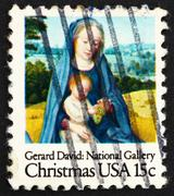 Postage stamp USA 1966 Virgin and Child, Detail from Painting by - stock photo