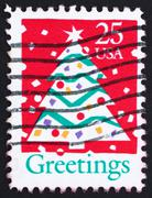 Postage stamp USA 1990 Christmas Tree - stock photo