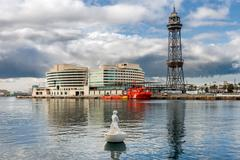 Barcelona, spain - may 2: port vell on may 2, 2014 in barcelona. port vell an Stock Photos