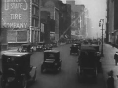 Busy Street In Chicago, With Cars and People - Circa 1920 Stock Footage