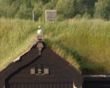 Stock Video Footage of Drivstua historic Railway station, close up grass roof