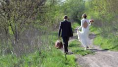 bride and groom walk down the path - stock footage