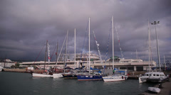 Yacht in the port at berth Stock Footage