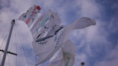 Flags on a yacht 3 Stock Footage