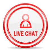 Live chat red white glossy web icon Stock Illustration