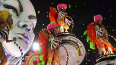 Brazil, carnival, ticker tape parade Stock Footage