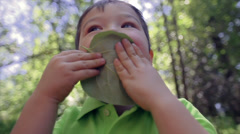 Multi-Ethnic Boy Covers His Face With Large Leaf, Then Puts It On His Head Stock Footage