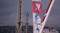 Flags on a yacht Stock Footage