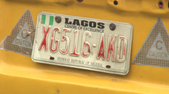 Lagos car number / license plate - stock footage