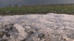 Storm chaser in hail storm Stock Footage