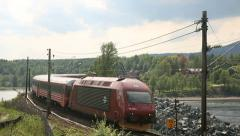 Train Passenger passing close Norway Stock Footage