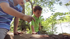 Little Boy Points Out A Bug On A Log, His Younger Brother Looks Stock Footage
