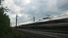 High Speed Train passing close in both directions Stock Footage