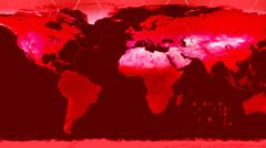 World map high tech digital satellite data view war room loop red war CRT Stock Footage