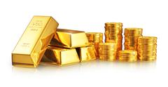 Stock Illustration of Gold ingots and coins