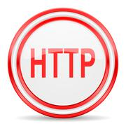 http red white glossy web icon - stock illustration