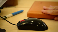 Hand with informatic mouse working  in close up shot Stock Footage