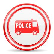 Police red white glossy web icon Stock Illustration