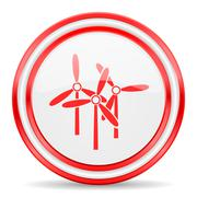 windmill red white glossy web icon - stock illustration