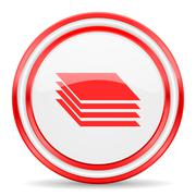 Layers red white glossy web icon Stock Illustration