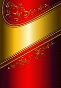 Stock Illustration of Festive red card with gold border and gold pattern.