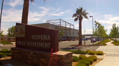 Stock Video Footage of Hesperia California Police Department Sign And Building