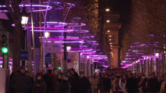 Stock Video Footage of Paris - Avenue des Champs-Élysées - Night