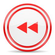 Stock Illustration of rewind red white glossy web icon