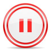 pause red white glossy web icon - stock illustration