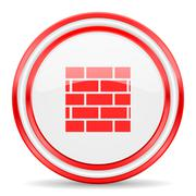 Firewall red white glossy web icon Piirros