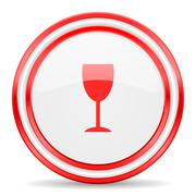 Stock Illustration of alcohol  red white glossy web icon