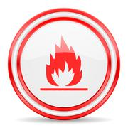 flame red white glossy web icon - stock illustration