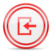 Stock Illustration of enter red white glossy web icon