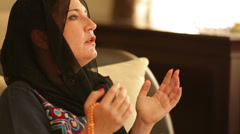 Praying muslim woman 3 - stock footage