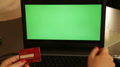 On-line shopping chroma key laptop Stock Footage