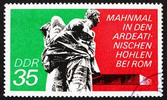 Postage stamp GDR 1974 Bound Guerrillas, Ardeatine Caves, Rome Stock Photos