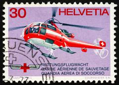 Stock Photo of Postage stamp Switzerland 1972 Red Cross Rescue Helicopter