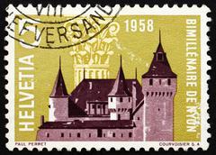 Postage stamp Switzerland 1958 Nyon Castle and Corinthian Capita Stock Photos