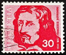 Postage stamp Switzerland 1969 Francesco Borromini, Architect - stock photo