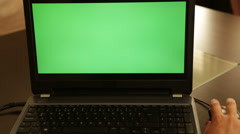 Stock Video Footage of Green screen laptop monitor