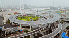 Stock Video Footage of Timelapse of traffic on Nanpu Spiral ,  Shanghai, China