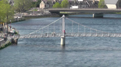Elevated view of River Ness Inverness Scotland Stock Footage