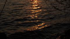 Green Lake Sunset Dockside - Tilt Up Stock Footage