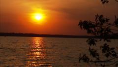 Green Lake Sunset Dockside Push Stock Footage